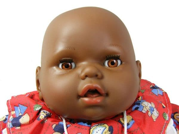 Black Baby Doll Toy Soft Body 46cm with Crying Sounds and sleeping eyes and Red dress free UK delivery